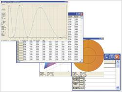 反射率/透過率グラフ、反射率/透過率テキスト、XY/L*a*b*色度図、膜厚。