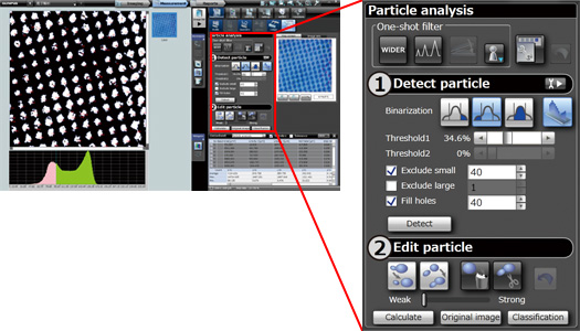 DSX500 Microscope Particle analysis (Option) Software Screenshot