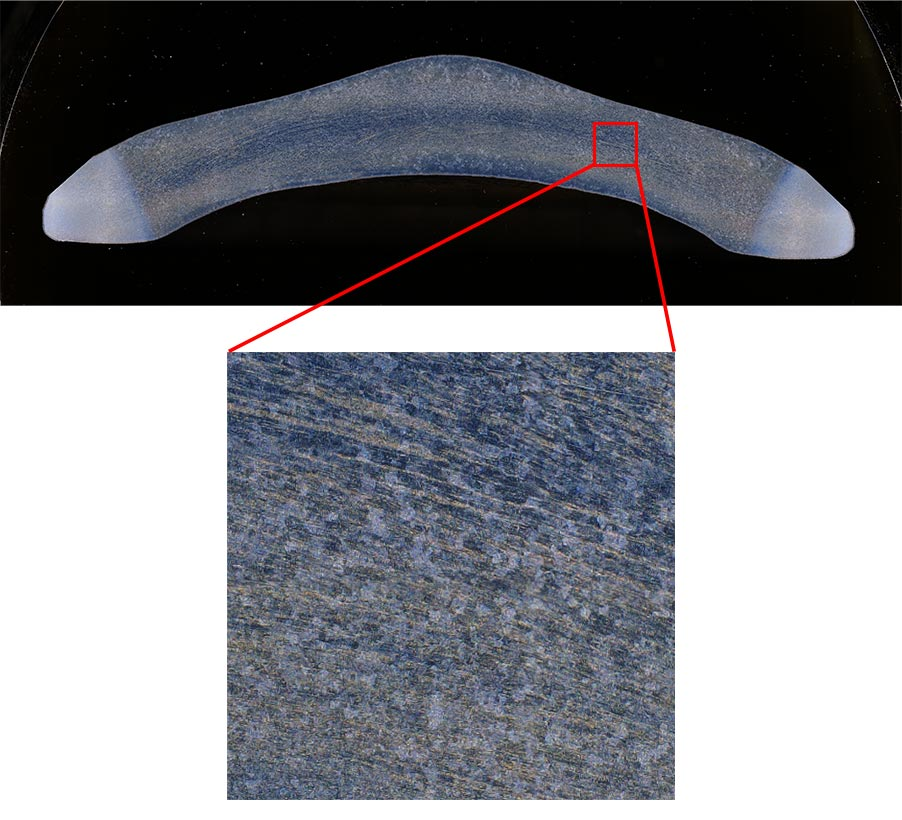 An auto-pasted image of a forged part made from several high-magnification images captured by the DSX1000 digital microscope (140X, 6 images vertically, 17 images horizontally).