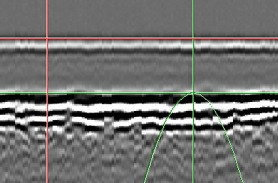 Measurement in good area showing Thickness as 7.39mm.  Tofd (m-r) reading shows distance between positioned cursors.