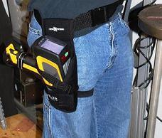 Delta Handheld XRF Analyzer in hip holster