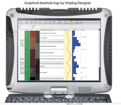 A Vanta pXRF analyzer providing data for rock type and alteration logging.
